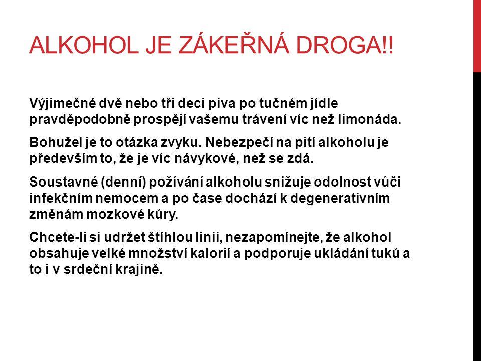 ALKOHOL JE ZÁKEŘNÁ DROGA!.