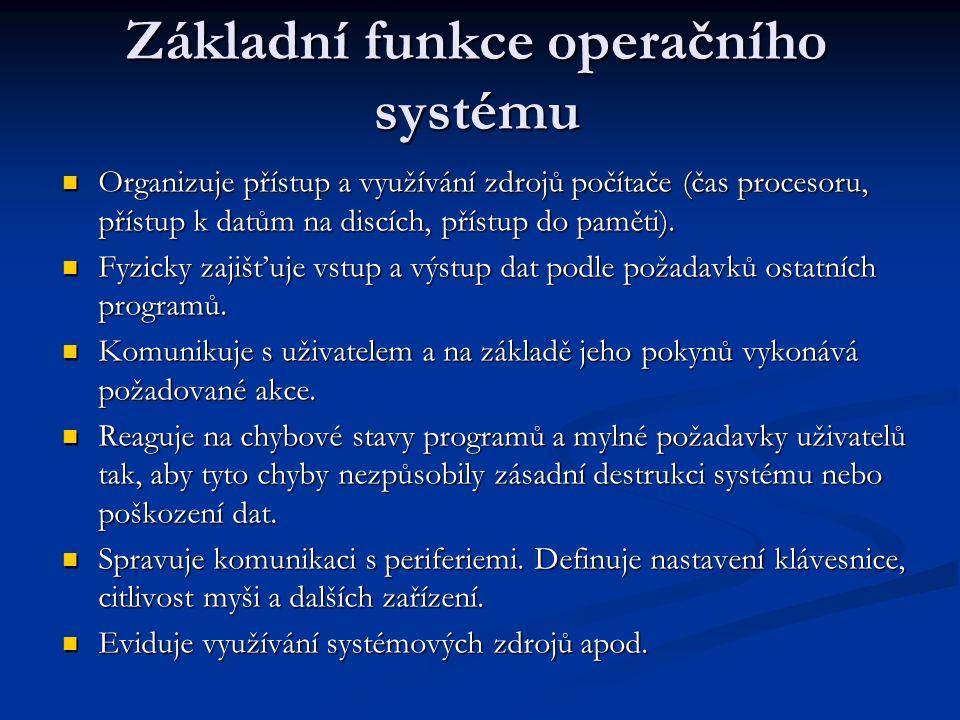 Struktura OS Operační systém je zpravidla tvořen tzv.