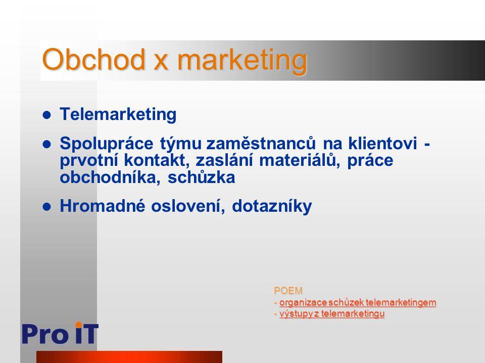 Obchod x marketing Telemarketing Spolupráce týmu zaměstnanců na klientovi - prvotní kontakt, zaslání materiálů, práce obchodníka, schůzka Hromadné oslovení, dotazníky POEM - organizace schůzek telemarketingem organizace schůzek telemarketingemorganizace schůzek telemarketingem - výstupy z telemarketingu výstupy z telemarketinguvýstupy z telemarketingu