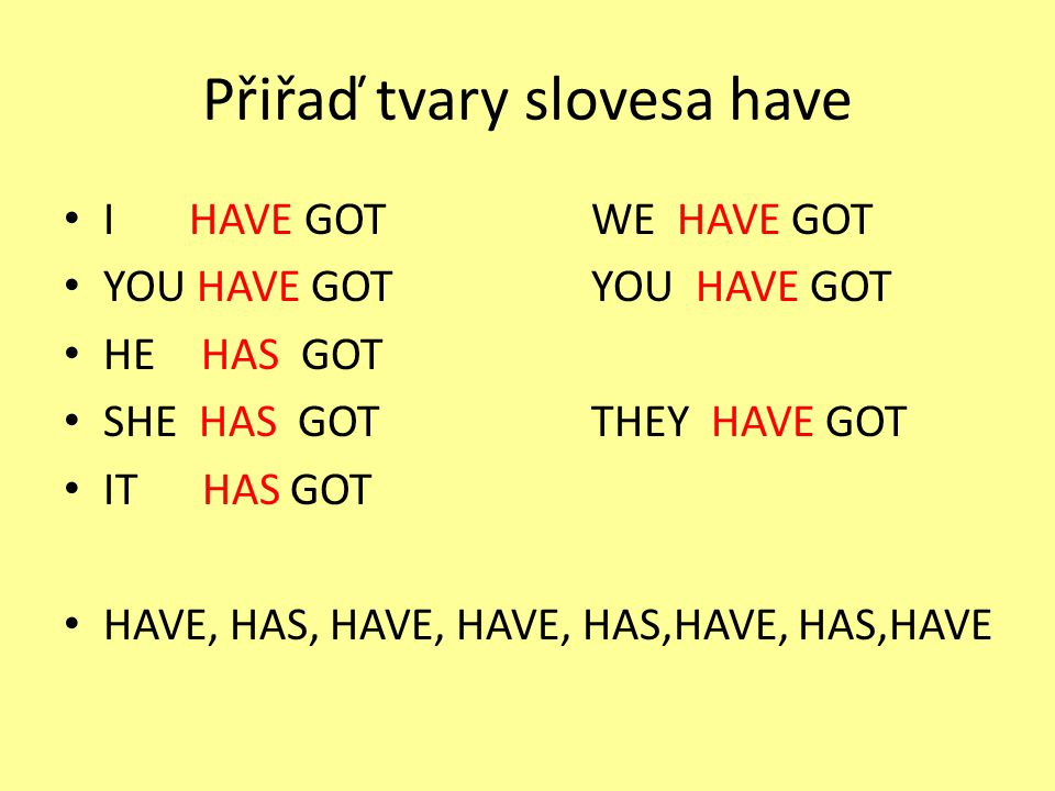 Přiřaď tvary slovesa have I HAVE GOTWE HAVE GOT YOU HAVE GOTYOU HAVE GOT HE HAS GOT SHE HAS GOTTHEY HAVE GOT IT HAS GOT HAVE, HAS, HAVE, HAVE, HAS,HAV