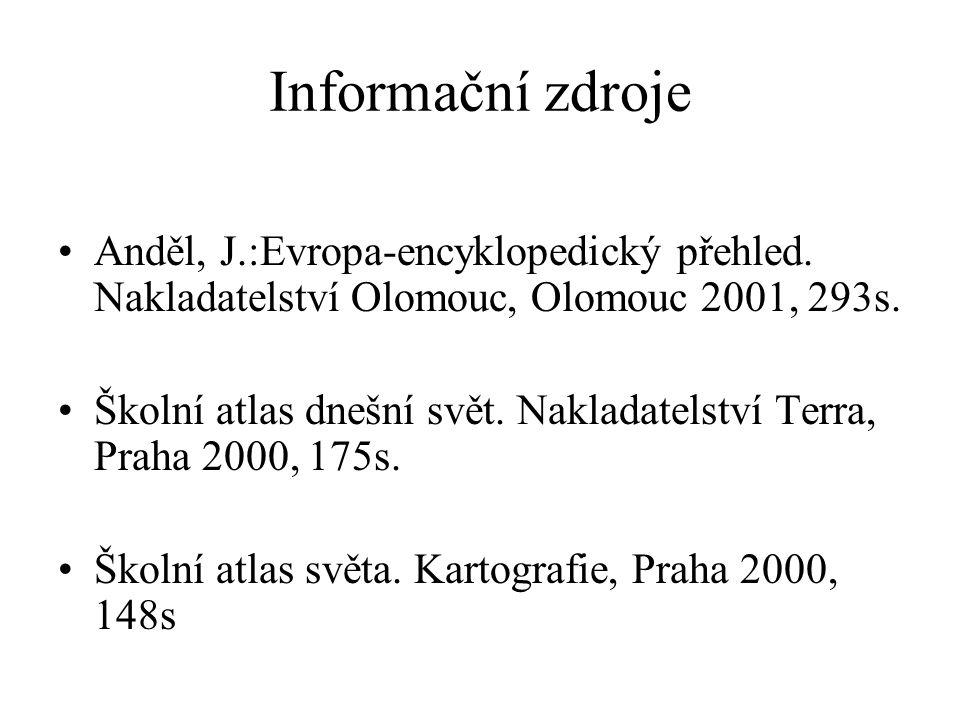 Informační zdroje Anděl, J.:Evropa-encyklopedický přehled.