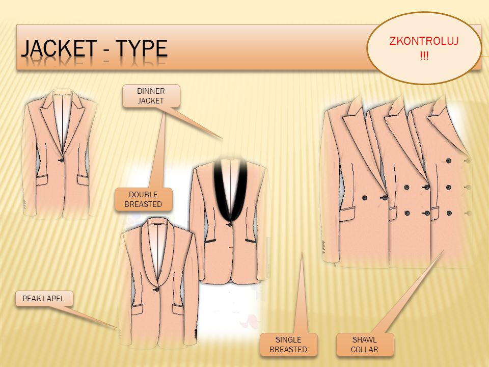 SINGLE BREASTED DOUBLE BREASTED DINNER JACKET SHAWL COLLAR PEAK LAPEL ZKONTROLUJ !!!