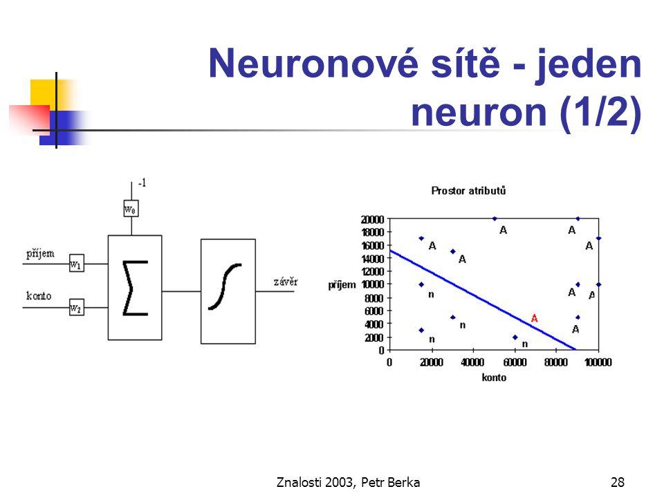 Znalosti 2003, Petr Berka29 Neuronové sítě – jeden neuron (2/2) Dávková verze 1.