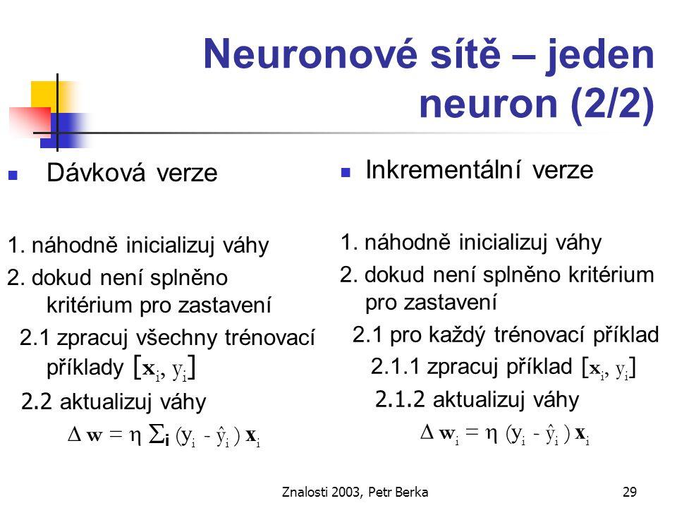 Znalosti 2003, Petr Berka30 Neuronové sítě - vícevrstvá síť