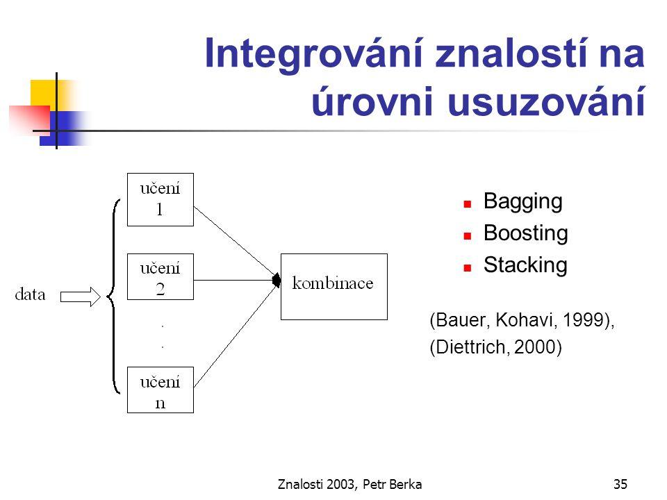 """Znalosti 2003, Petr Berka36 Bagging učení - vytvoření """"paralelních modelů vytvoř několik trénovacích množin (náhodný výběr s opakováním) použij (týž) algoritmus pro učení klasifikace rovné hlasování modelů"""