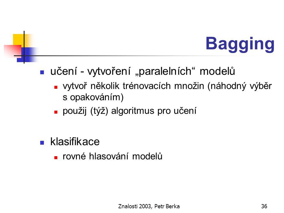 Znalosti 2003, Petr Berka37 Boosting učení - vytvoření sekvence modelů každý model se zaměřuje na ty příklady, které se předcházejícími modely nepodařilo klasifikovat (vážení příkladů) použit (týž) algoritmus pro učení klasifikace vážené hlasování modelů