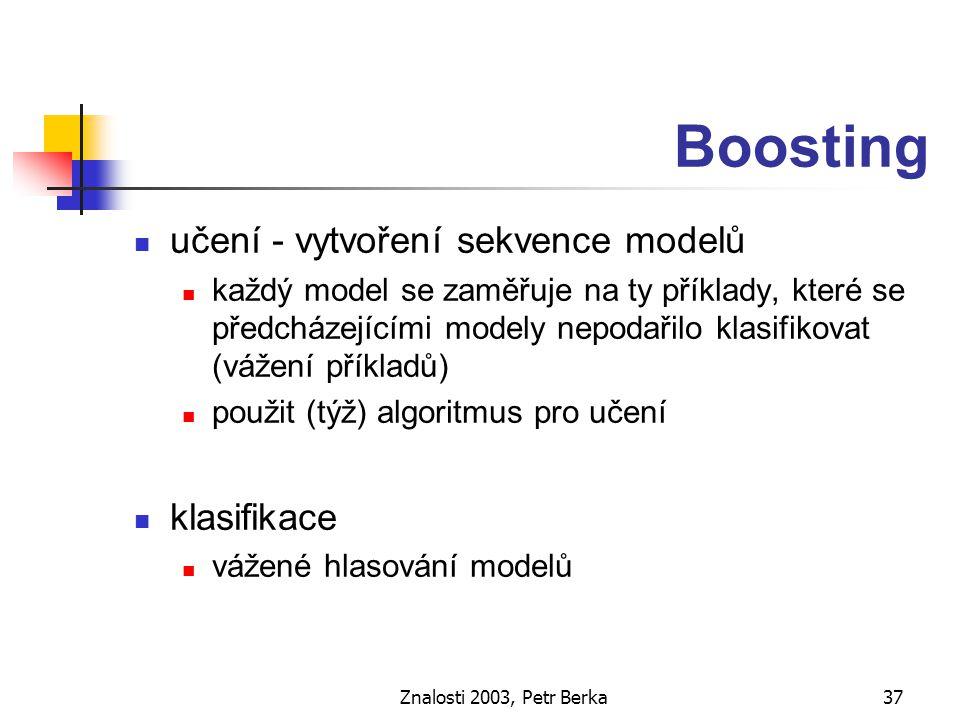 Znalosti 2003, Petr Berka38 AdaBoost učení 1.přiřaď stejnou váhu všem příkladům, 2.