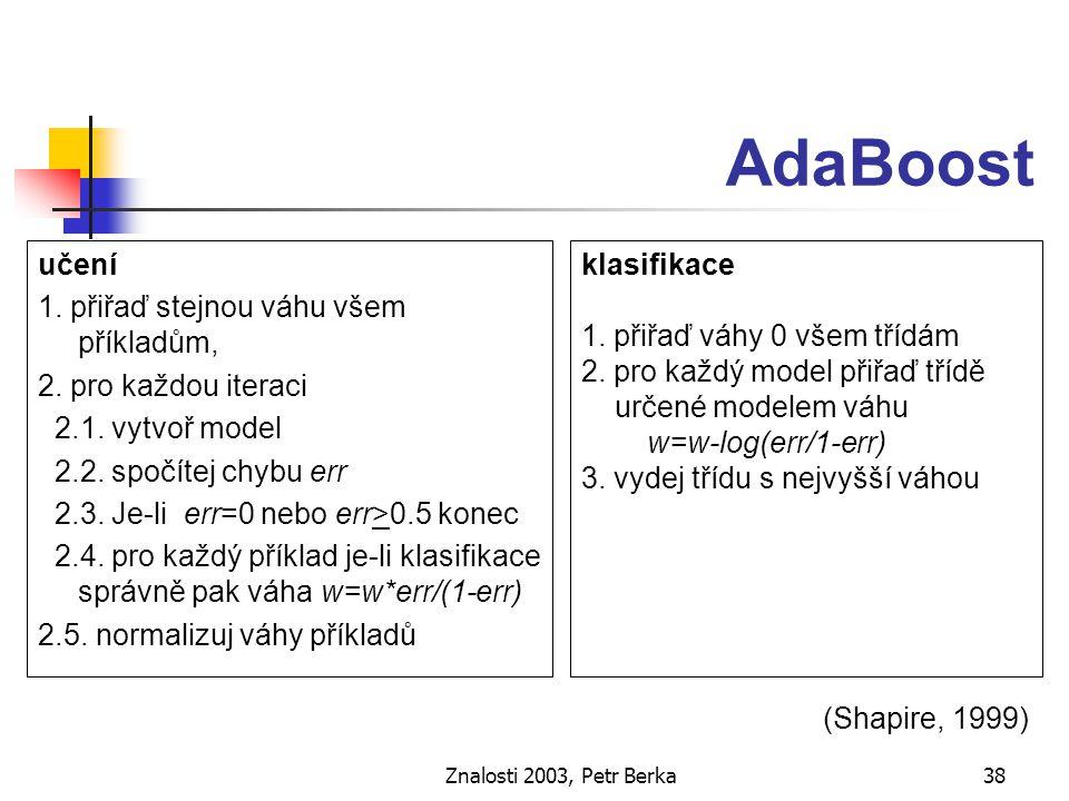 """Znalosti 2003, Petr Berka39 Stacking učení - vytvoření """"paralelních modelů použít různé algoritmy na stejná data meta-učení (učení z výsledků jednotlivých klasifikací) kombinování modelů selekce modelů ( Bensusan a kol., 2000) určení """"oblasti expertízy modelu (Berka, 1997b)"""