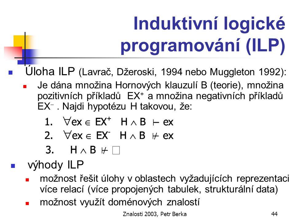 Znalosti 2003, Petr Berka45 Tvorba rozhodovacích pravidel algoritmem KEX báze znalostí pravidla Ant  Class (w) inferenční mechanismus Příspěvky všech aplikovatelných pravidel se složí jako způsob tvorby pravidel Do báze pravidel se zařazují jen ty implikace, které nejsou odvoditelné z již získaných kratších pravidel, tedy pro které P(Class|Ant) se liší od cw(Ant)