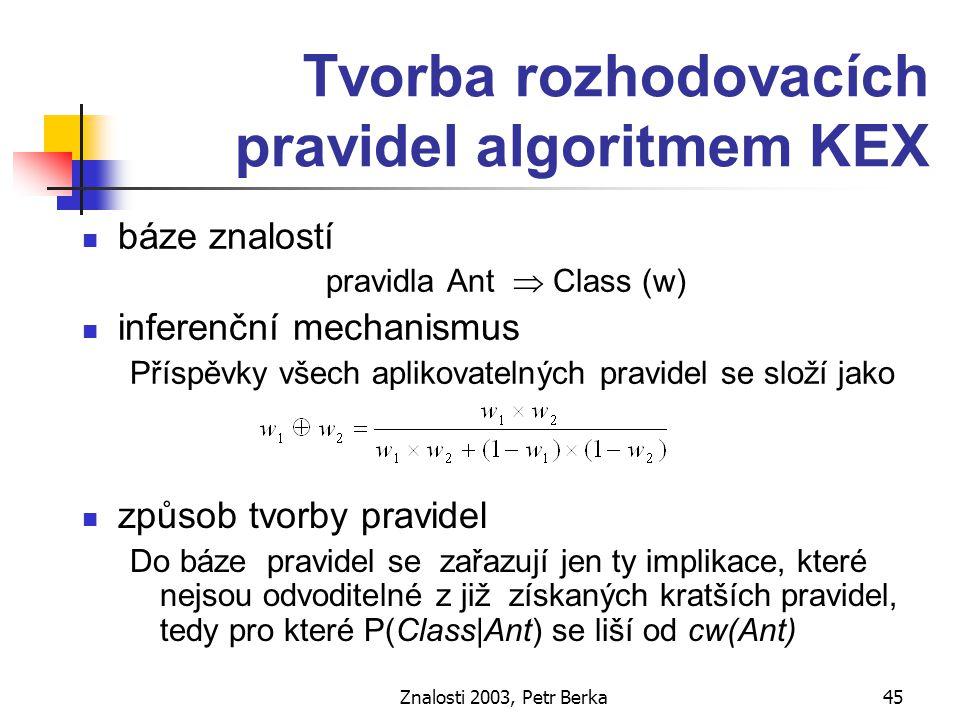 Znalosti 2003, Petr Berka46 KEX dávková verze nechť CAT je seznam kategorií A(v) nechť IMPL je seznam implikací A(v)  Class (oba seznamy jsou uspořádány sestupně dle četnosti n(A(v)) ) nechť báze pravidel KB obsahuje pouze prázdný vztah   Class (w) dokud IMPL není prázdný seznam 1.