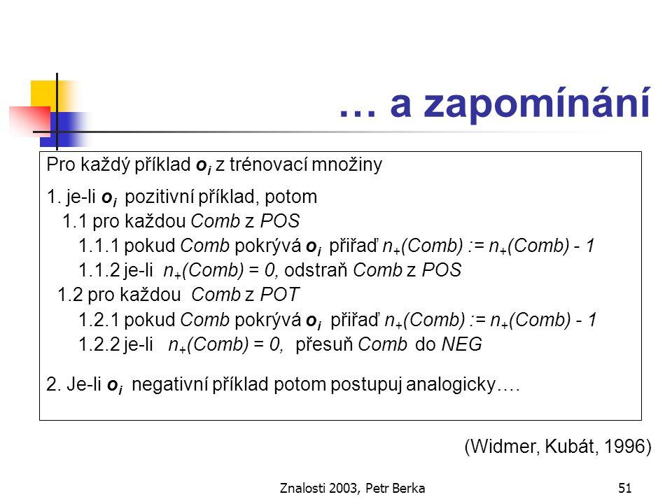 Znalosti 2003, Petr Berka52 Koncepty závislé na kontextu Kontext situace, ve které získáváme data relevantní atributy, které nejsou v současnosti dostupné atributy, které samy o sobě nepřispívají ke klasifikaci ale které zlepšují výsledky klasifikace v kombinaci s jinými atributy (Matwin, Kubát, 1996)