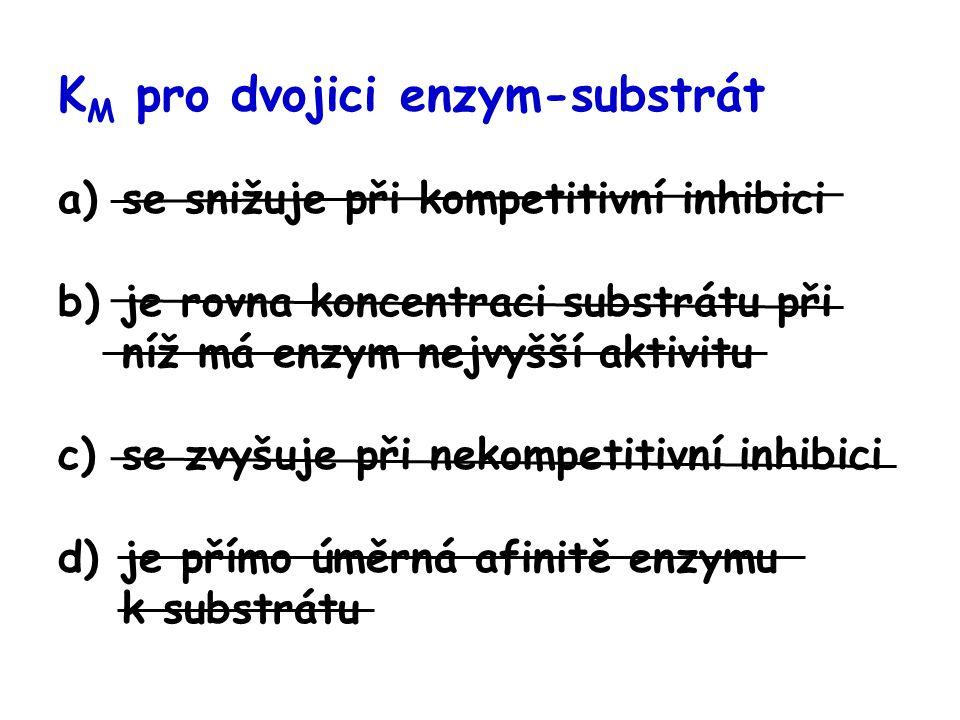 K M pro dvojici enzym-substrát a)se snižuje při kompetitivní inhibici b)je rovna koncentraci substrátu při níž má enzym nejvyšší aktivitu c)se zvyšuje