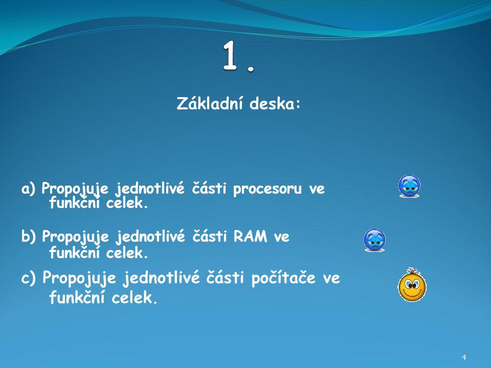 Základní deska: 4 b) Propojuje jednotlivé části RAM ve funkční celek.
