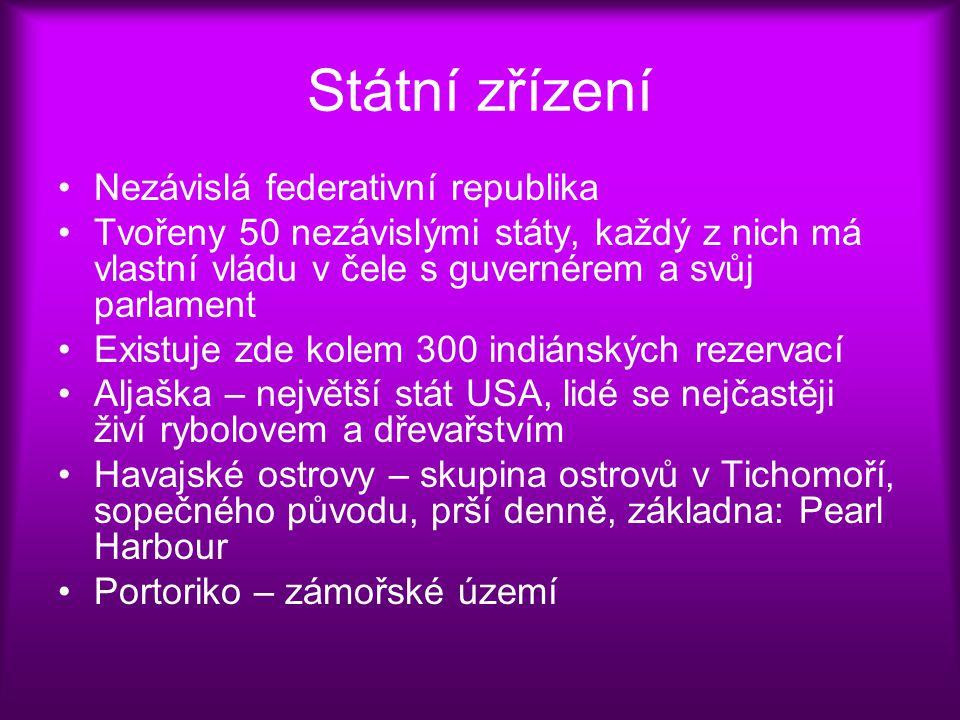 Státní zřízení Nezávislá federativní republika Tvořeny 50 nezávislými státy, každý z nich má vlastní vládu v čele s guvernérem a svůj parlament Existu