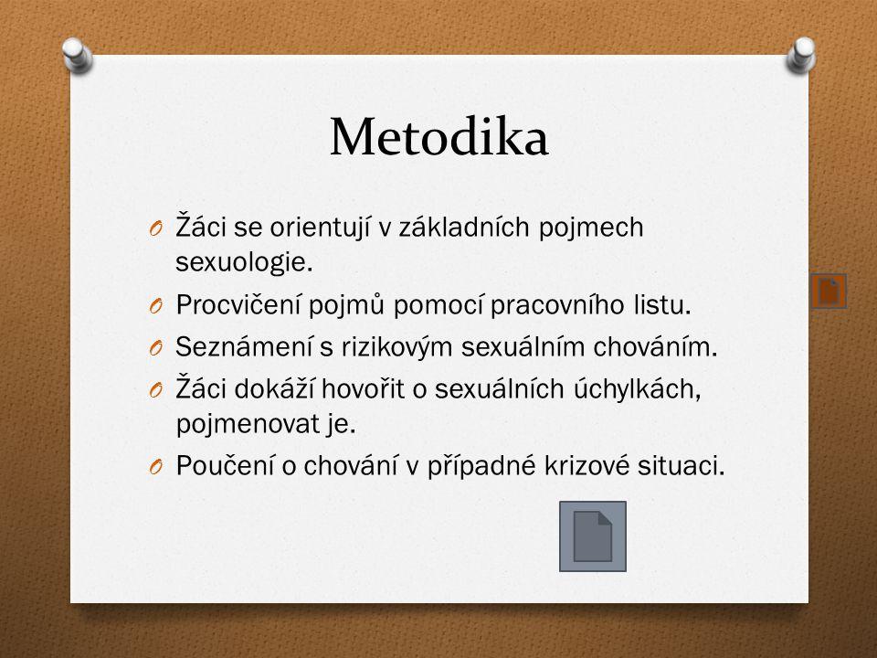 Metodika O Žáci se orientují v základních pojmech sexuologie.