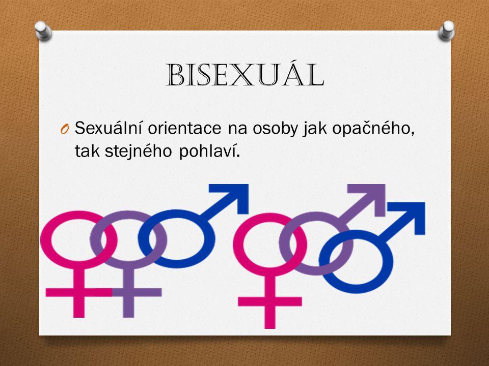 Homosexuál O sexuální vazby na stejné pohlaví O homosexuální orientace, homosexuální preference, homosexuální zaměření, homosexuální založení,… Muž projevující náklonnost k muži je gay Žena projevující náklonnost k ženě je lesbička