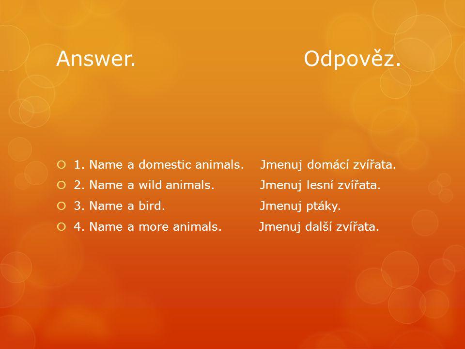 Answer. Odpověz.  1. Name a domestic animals. Jmenuj domácí zvířata.