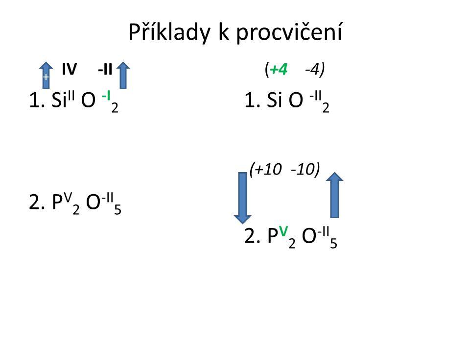 Příklady k procvičení IV -II 1. Si II O -I 2 2. P V 2 O -II 5 (+4 -4) 1. Si O -II 2 (+10 -10) 2. P V 2 O -II 5 +