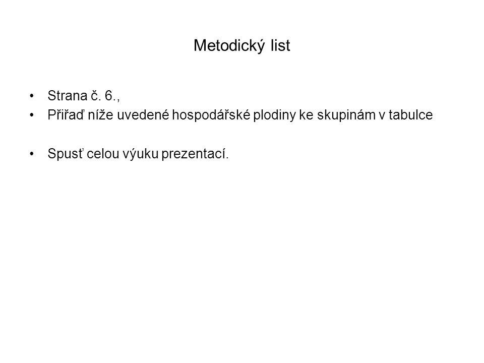 Metodický list Strana č. 6., Přiřaď níže uvedené hospodářské plodiny ke skupinám v tabulce Spusť celou výuku prezentací.