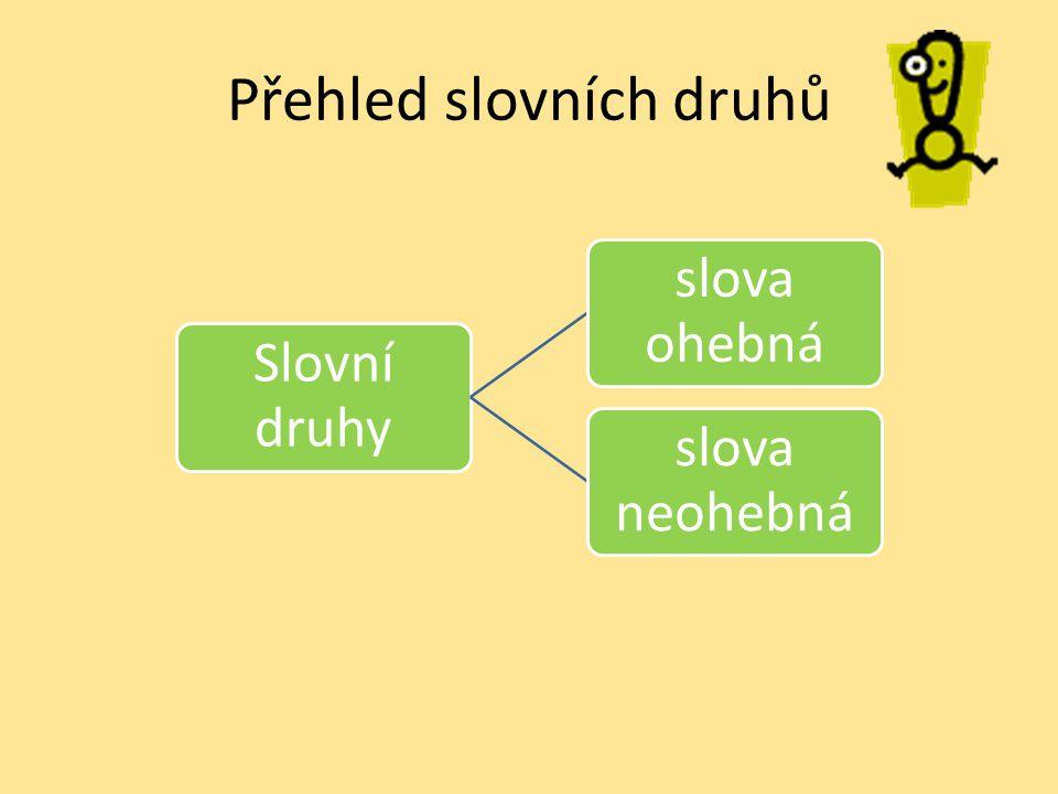 Přehled slovních druhů Slovní druhy slova ohebná skloňují sečasují se slova neohebná