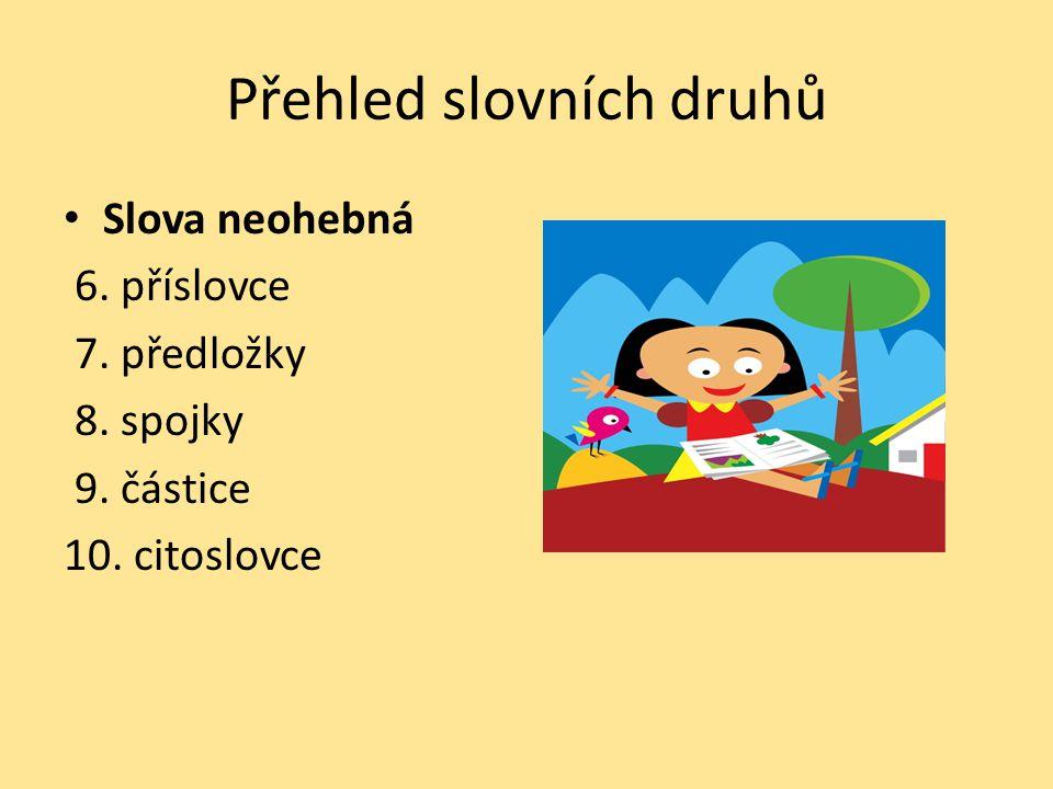Slovní druhy – pomocná číselná řada Přiřaď správné číslo k danému slovnímu druhu.