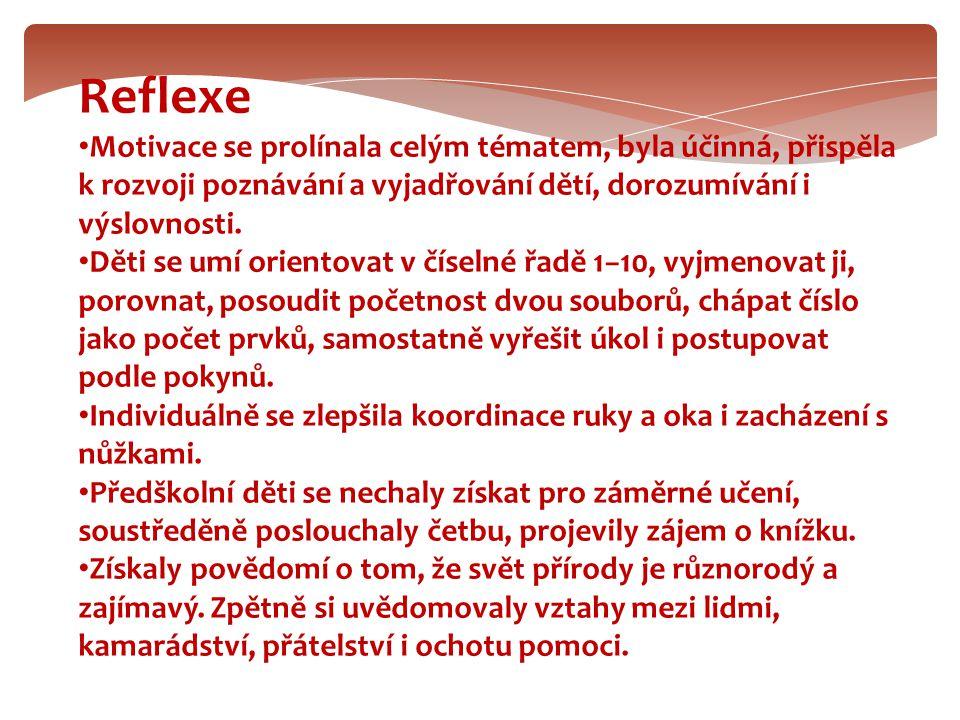 Reflexe Motivace se prolínala celým tématem, byla účinná, přispěla k rozvoji poznávání a vyjadřování dětí, dorozumívání i výslovnosti.
