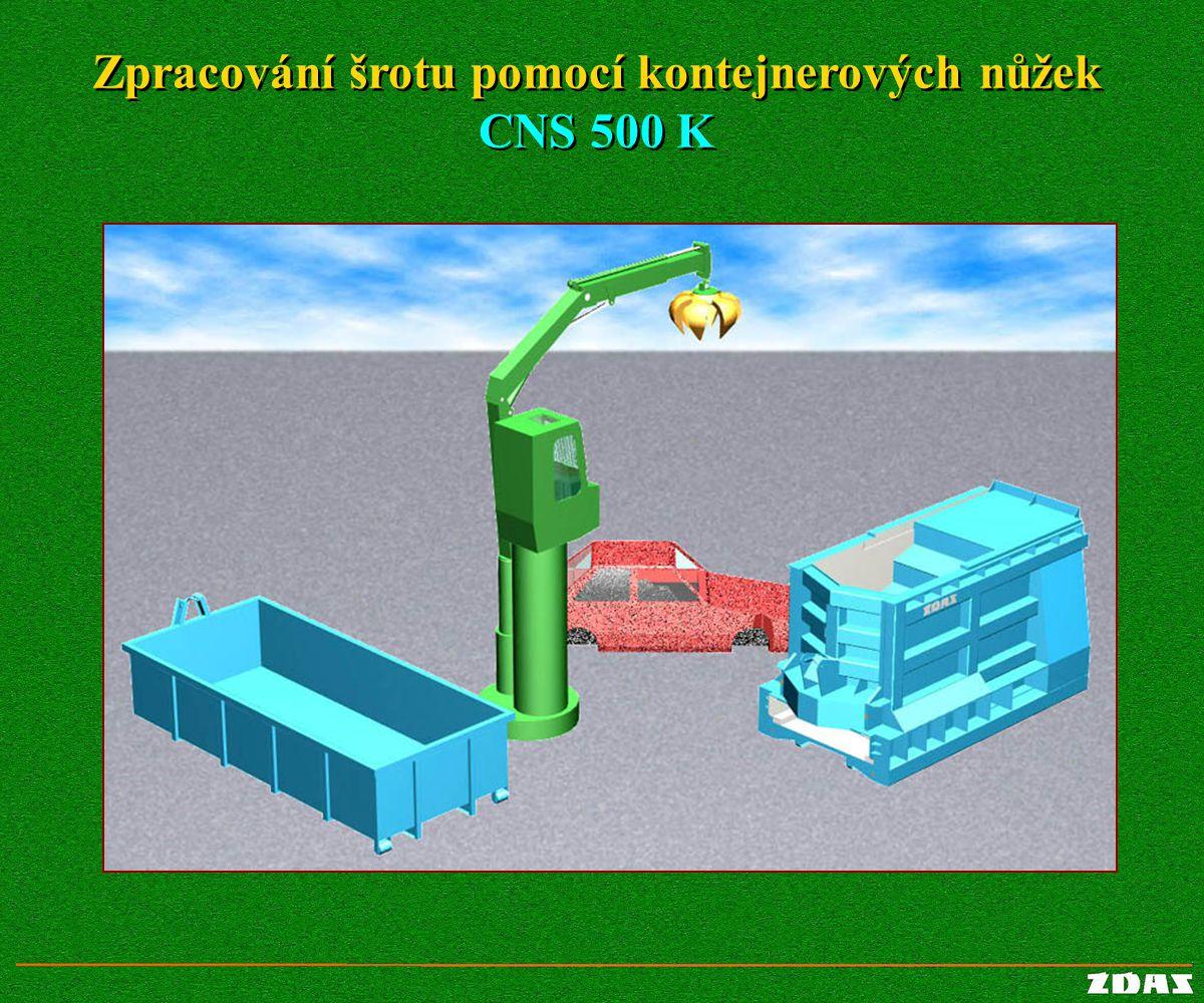 Zpracování šrotu pomocí kontejnerových nůžek CNS 500 K Zpracování šrotu pomocí kontejnerových nůžek CNS 500 K