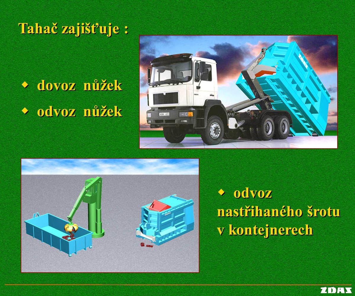 Tahač zajišťuje : Tahač zajišťuje :  odvoz nastřihaného šrotu v kontejnerech  odvoz nastřihaného šrotu v kontejnerech  dovoz nůžek  dovoz nůžek 