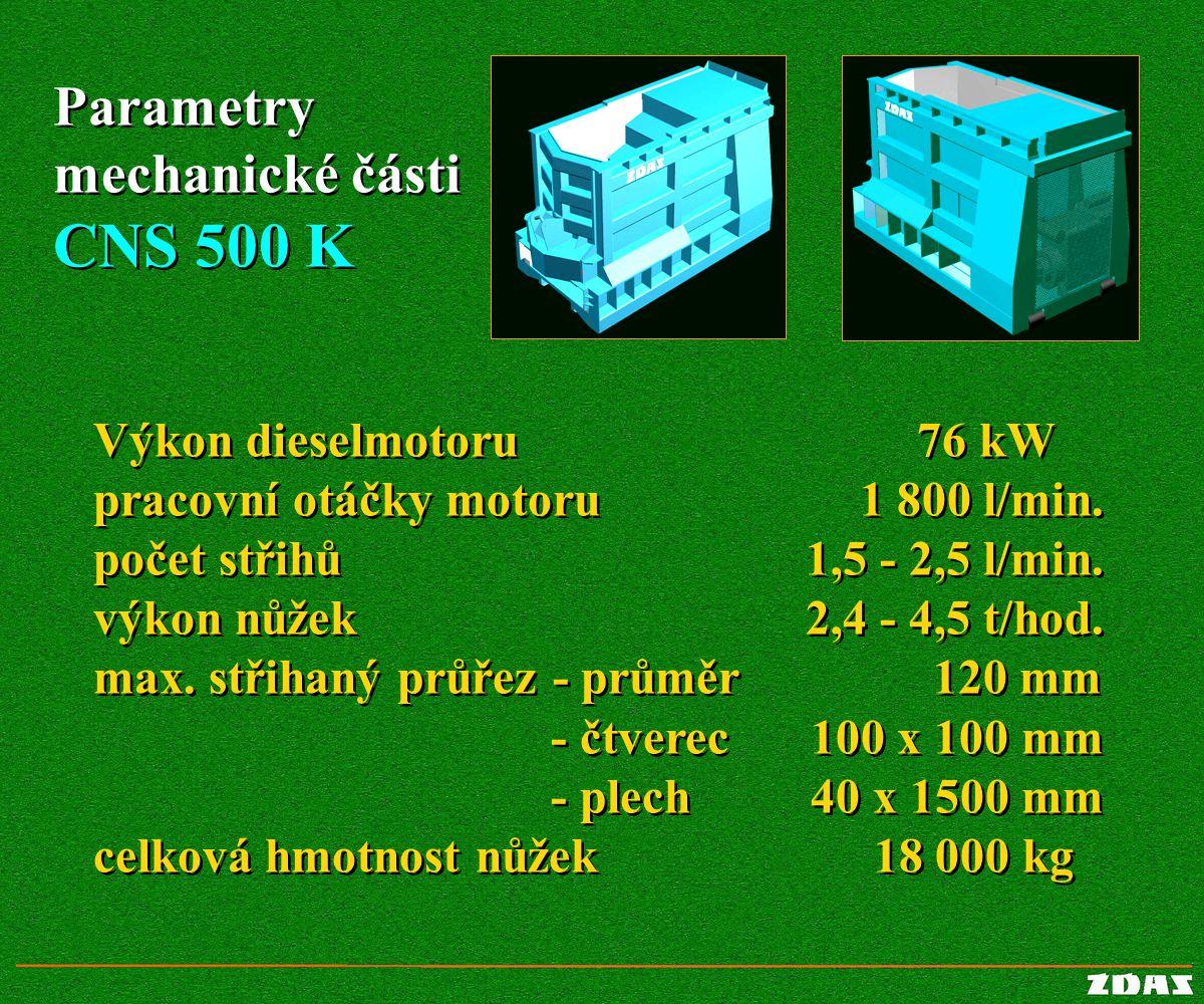Výkon dieselmotoru pracovní otáčky motoru počet střihů výkon nůžek max. střihaný průřez - průměr - čtverec - plech celková hmotnost nůžek Výkon diesel