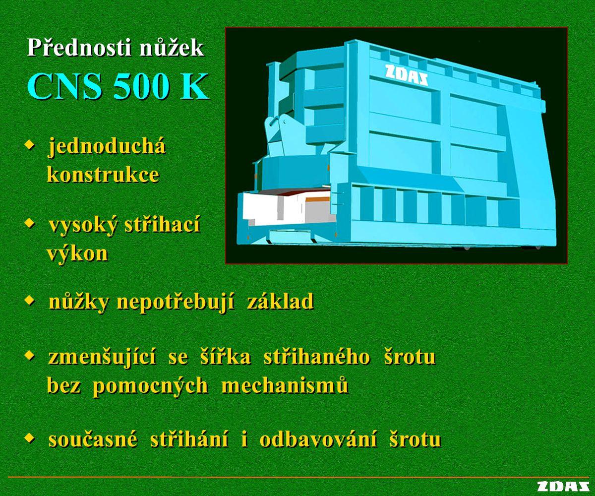 Přednosti nůžek CNS 500 K Přednosti nůžek CNS 500 K  jednoduchá konstrukce  jednoduchá konstrukce  vysoký střihací výkon  vysoký střihací výkon 
