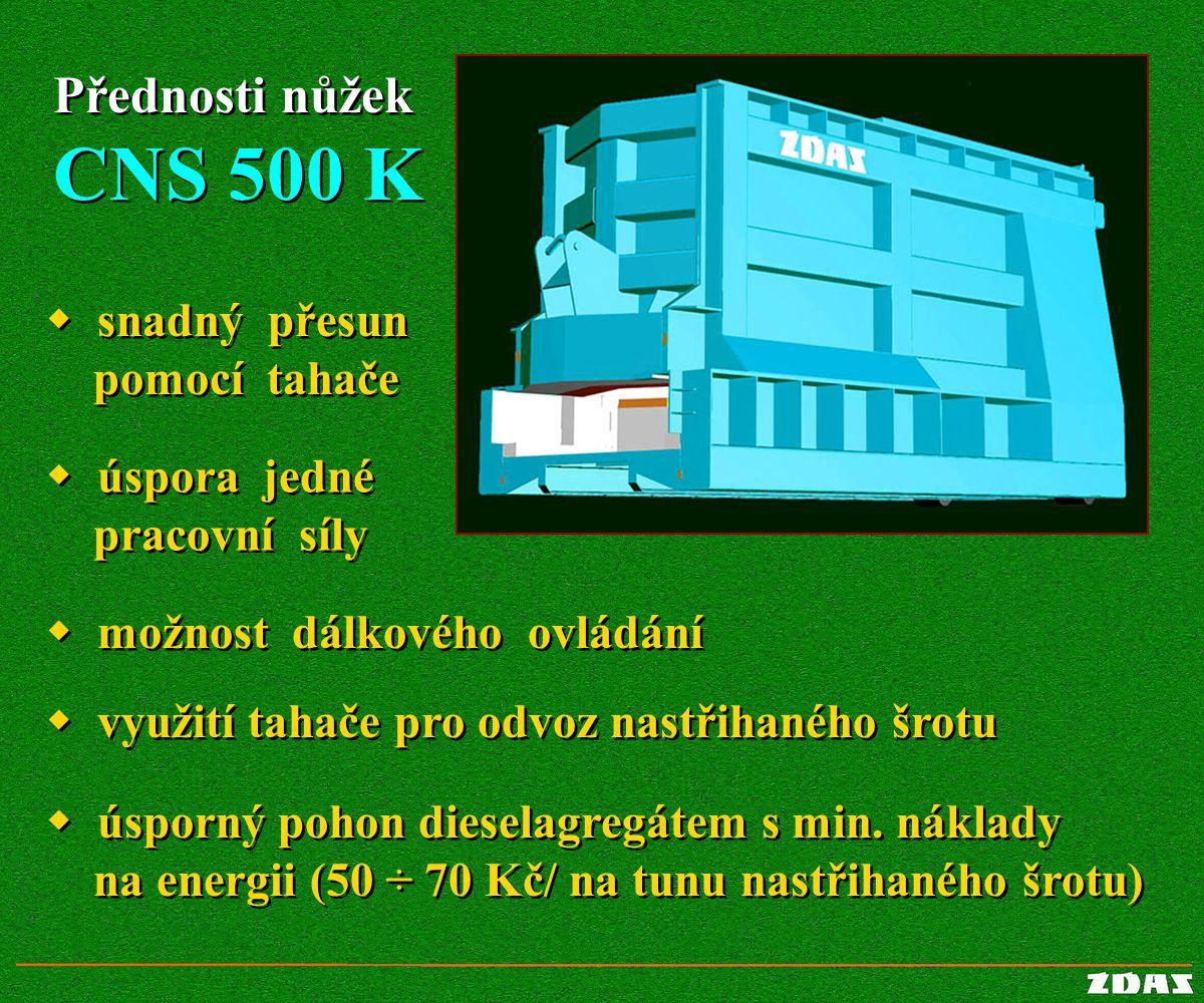Přednosti nůžek CNS 500 K Přednosti nůžek CNS 500 K  úsporný pohon dieselagregátem s min. náklady na energii (50 ÷ 70 Kč/ na tunu nastřihaného šrotu)