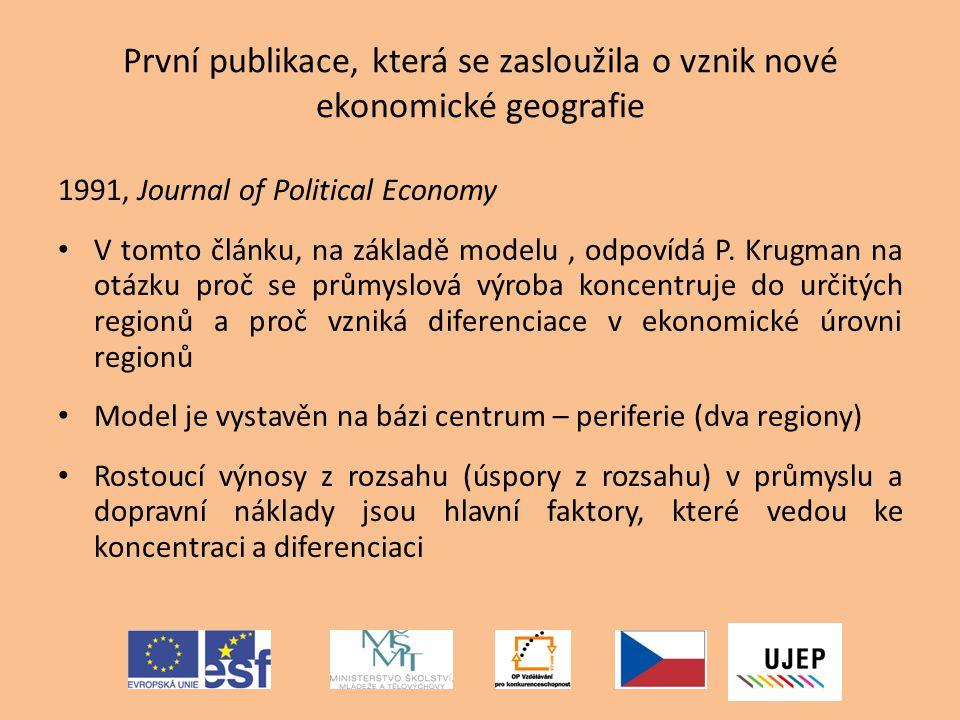 První publikace, která se zasloužila o vznik nové ekonomické geografie 1991, Journal of Political Economy V tomto článku, na základě modelu, odpovídá