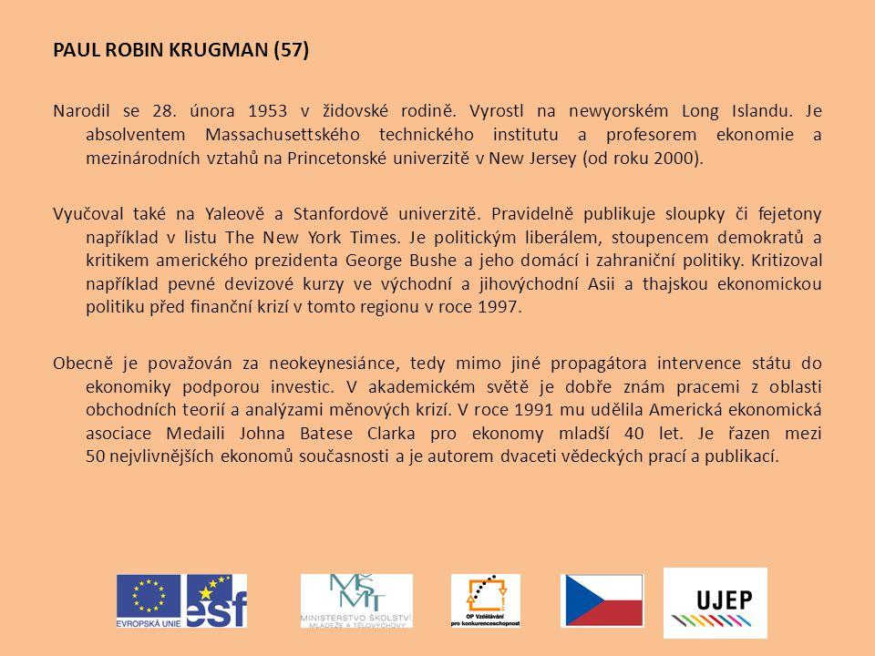 """Závěrem - Krugmanův význam pro regionální vědu a ekonomii """"Objev ekonomické geografie ve smyslu ekonomie v prostoru Matematizované ekonomické modely na mikroekonomické bázi (standardní optimalizace a rovnováha) vysvětlující prostorové uspořádání aktivit, divergenci i konvergenci v ekonomické úrovni regionů Teoretický posun od oddělených modelů k syntéze Rehabilitace regionální ekonomie – na úroveň standardní ekonomie"""