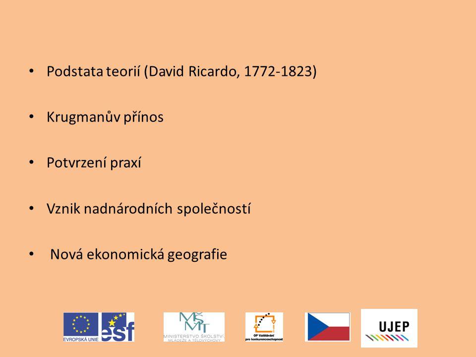 Podstata teorií (David Ricardo, 1772-1823) Krugmanův přínos Potvrzení praxí Vznik nadnárodních společností Nová ekonomická geografie