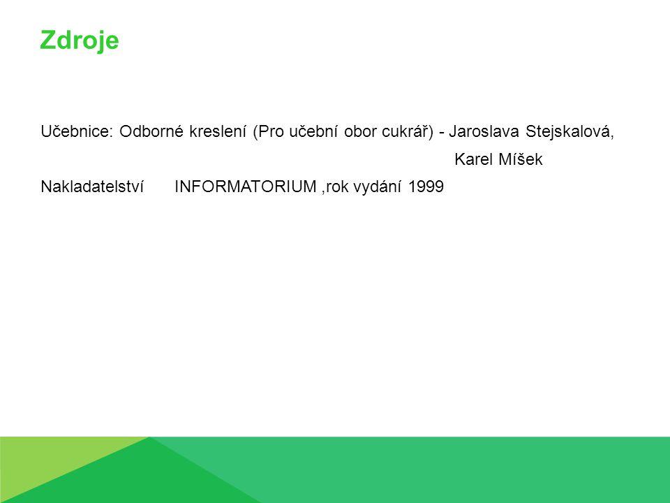 Zdroje Učebnice: Odborné kreslení (Pro učební obor cukrář) - Jaroslava Stejskalová, Karel Míšek NakladatelstvíINFORMATORIUM,rok vydání 1999