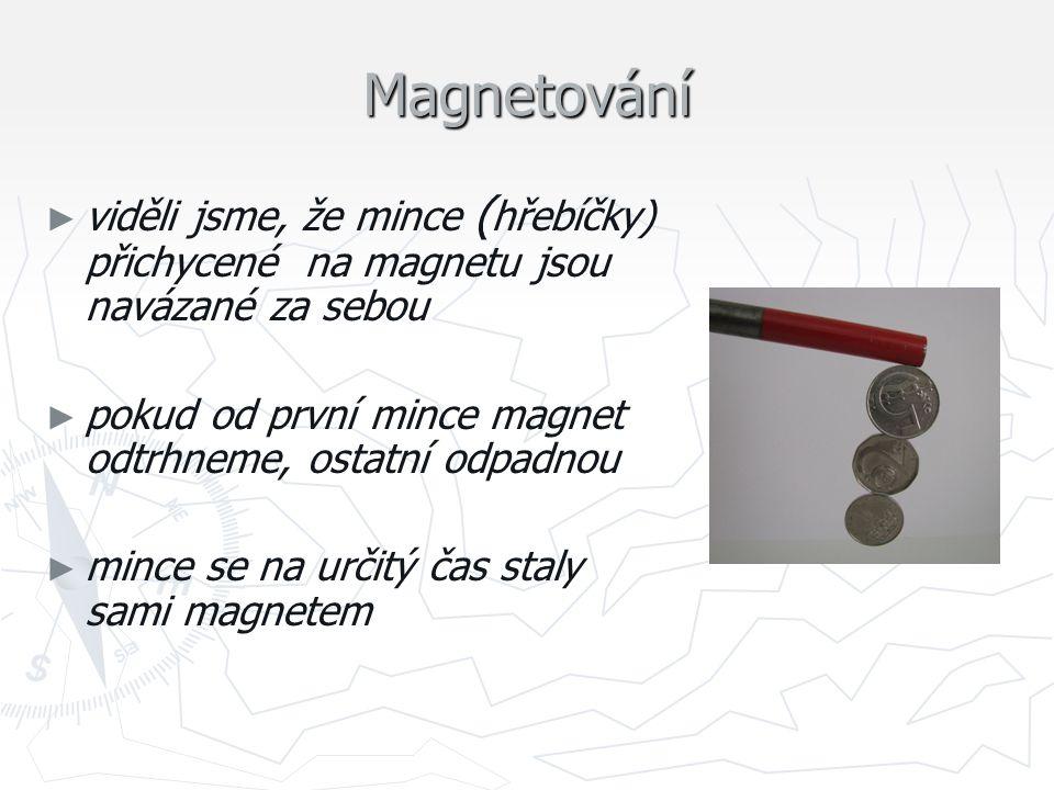 Magnetování ► ► viděli jsme, že mince ( hřebíčky) přichycené na magnetu jsou navázané za sebou ► ► pokud od první mince magnet odtrhneme, ostatní odpa