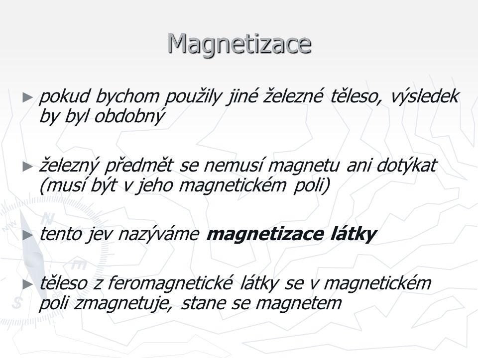 Magnetizace ► ► pokud bychom použily jiné železné těleso, výsledek by byl obdobný ► ► železný předmět se nemusí magnetu ani dotýkat (musí být v jeho m