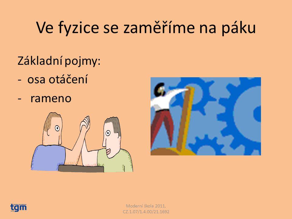 Základní pojmy: - osa otáčení - rameno Moderní škola 2011, CZ.1.07/1.4.00/21.1692 Ve fyzice se zaměříme na páku