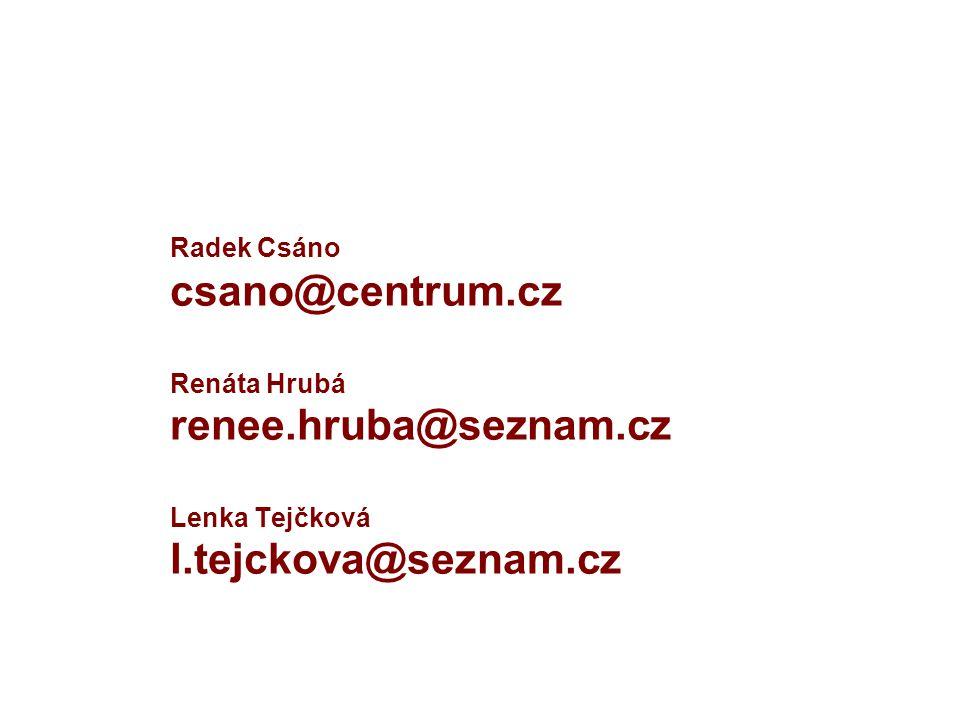 Radek Csáno csano@centrum.cz Renáta Hrubá renee.hruba@seznam.cz Lenka Tejčková l.tejckova@seznam.cz