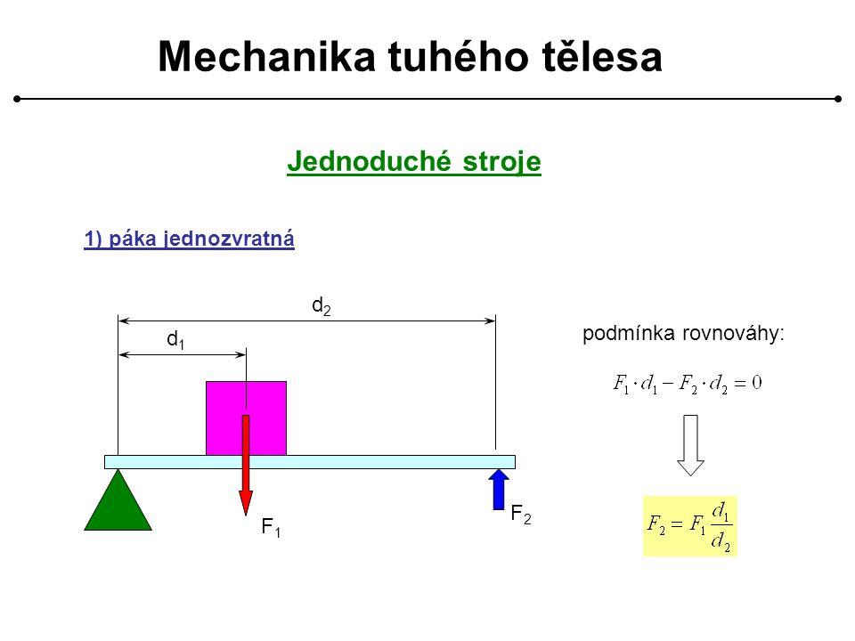Mechanika tuhého tělesa Jednoduché stroje 1) páka jednozvratná d1d1 d2d2 F1F1 F2F2 podmínka rovnováhy: