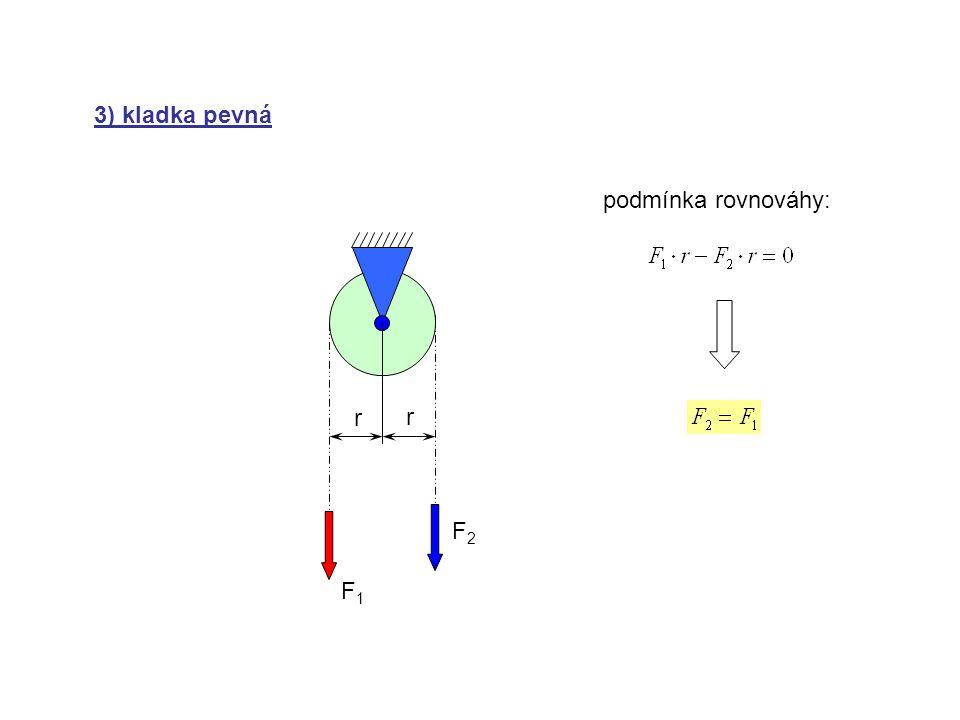 4) kladka volná F1F1 F2F2 r r podmínka rovnováhy: (rovnováha k bodu O) F3F3 O