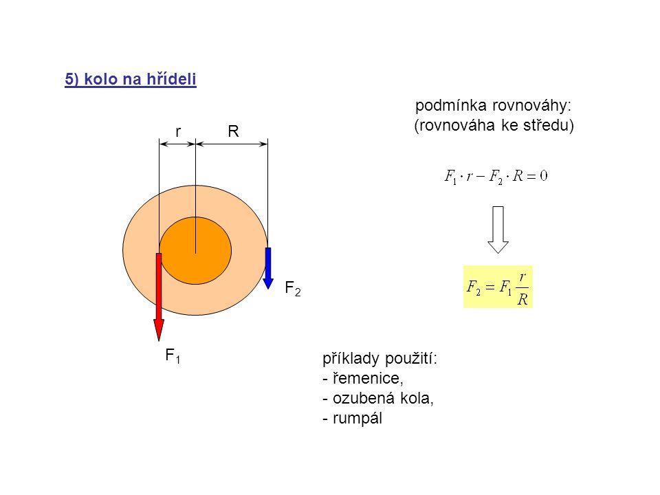 5) kolo na hřídeli rR F1F1 F2F2 podmínka rovnováhy: (rovnováha ke středu) příklady použití: - řemenice, - ozubená kola, - rumpál