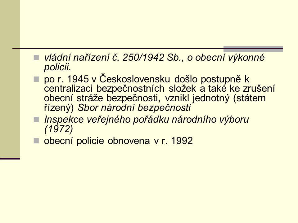 vládní nařízení č.250/1942 Sb., o obecní výkonné policii.