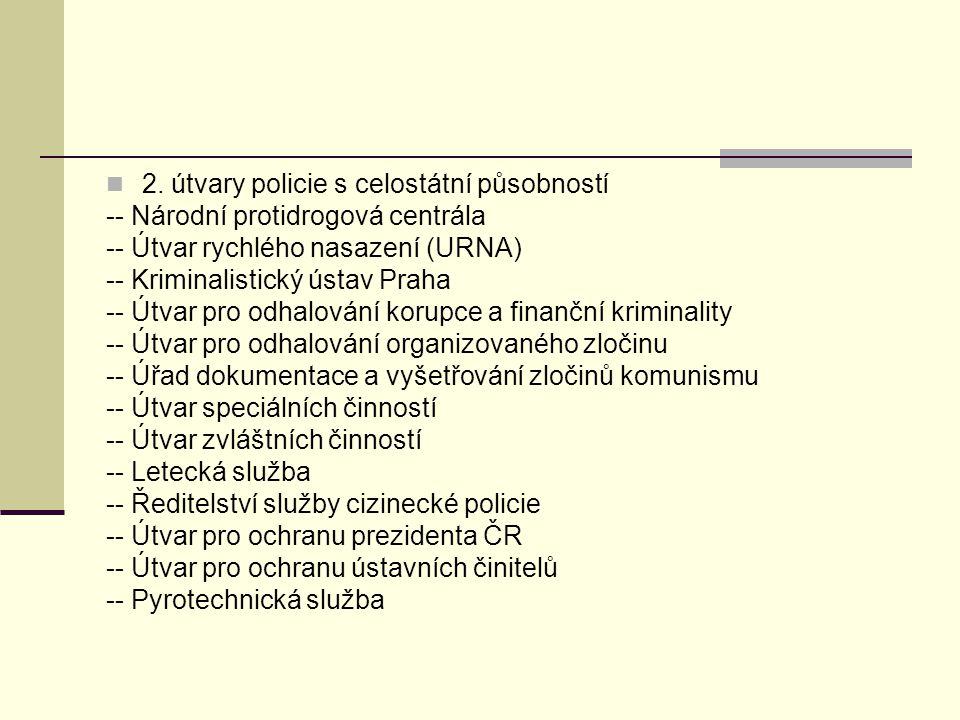 2. útvary policie s celostátní působností -- Národní protidrogová centrála -- Útvar rychlého nasazení (URNA) -- Kriminalistický ústav Praha -- Útvar p