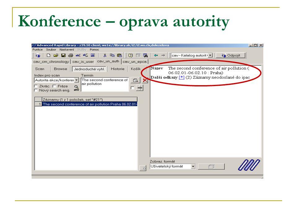 Konference – oprava autority