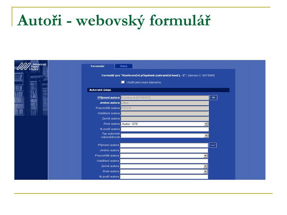 Autoři - webovský formulář