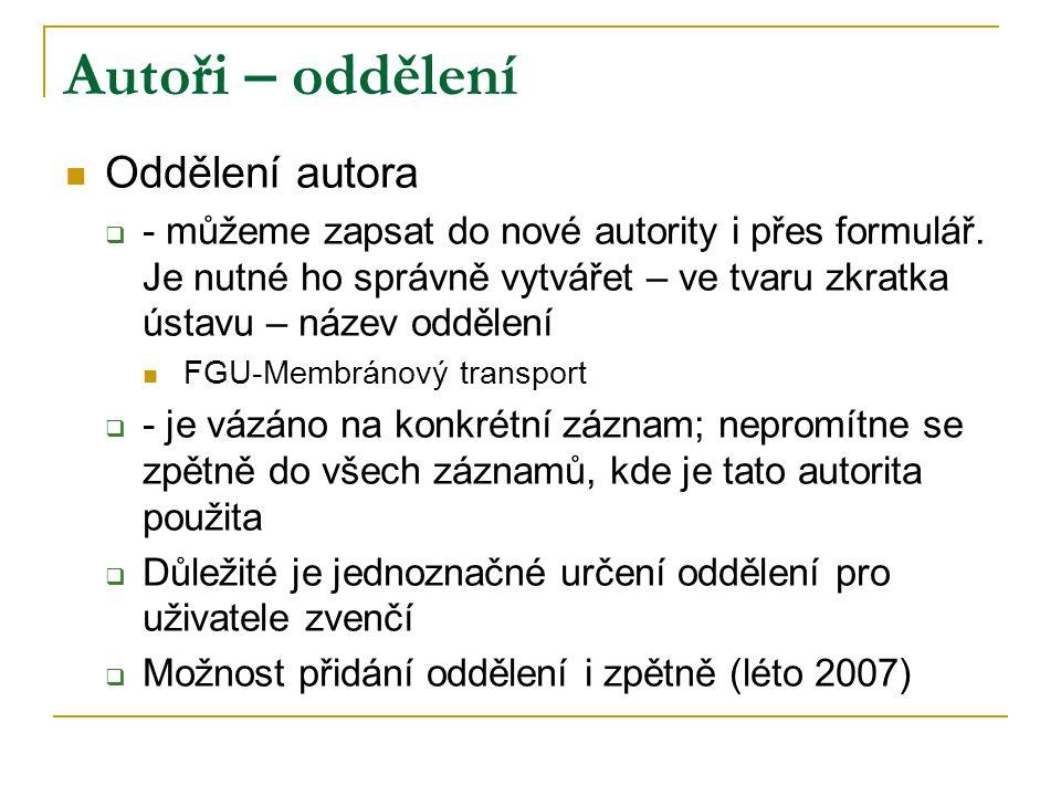 Autoři – oddělení – IPAC Slovník