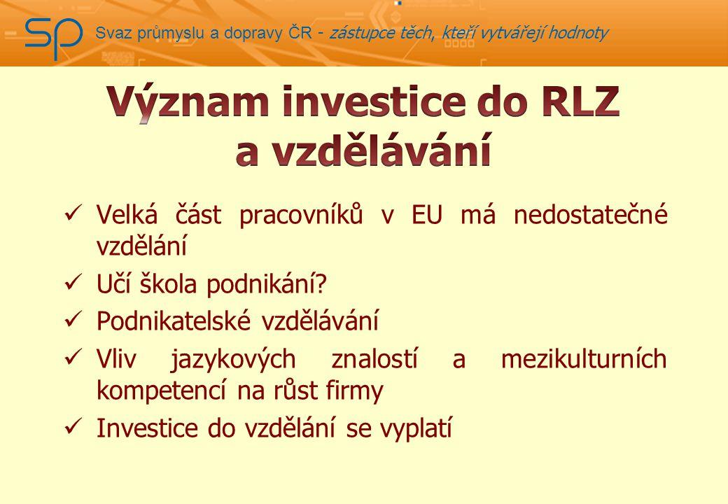 Svaz průmyslu a dopravy ČR - zástupce těch, kteří vytvářejí hodnoty Velká část pracovníků v EU má nedostatečné vzdělání Učí škola podnikání.