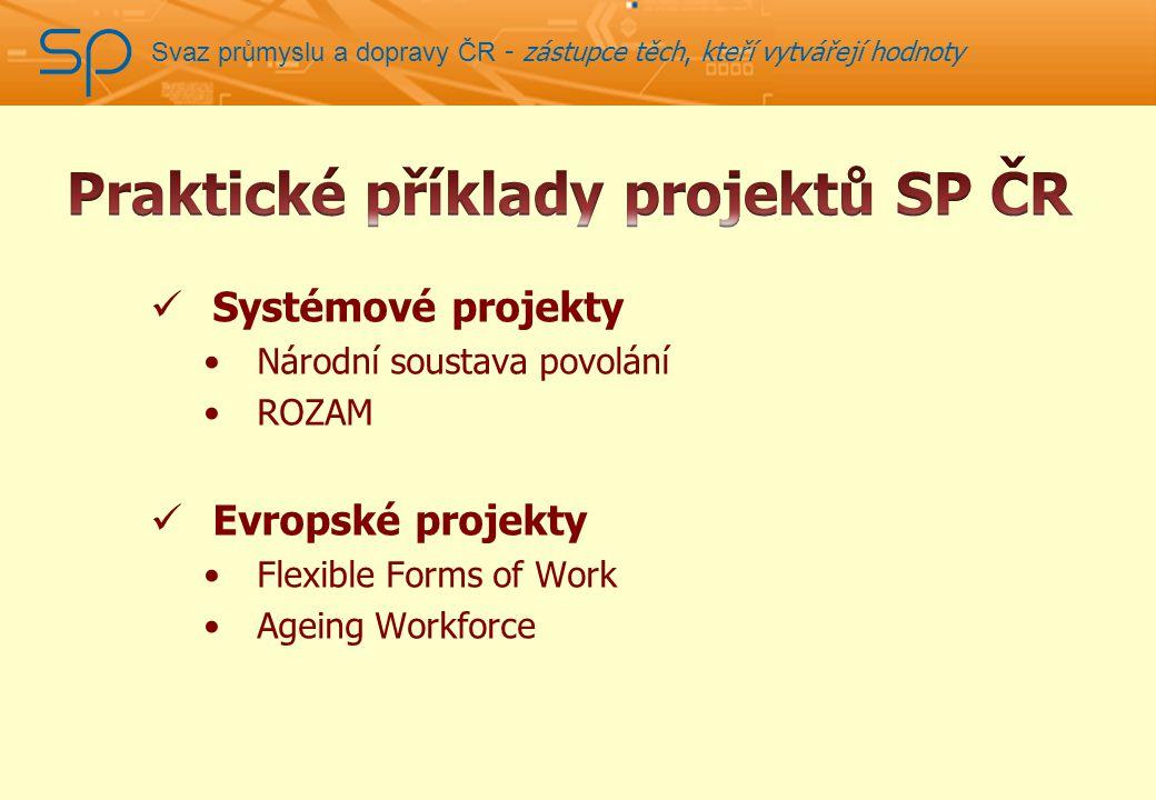 Svaz průmyslu a dopravy ČR - zástupce těch, kteří vytvářejí hodnoty Systémové projekty Národní soustava povolání ROZAM Evropské projekty Flexible Forms of Work Ageing Workforce