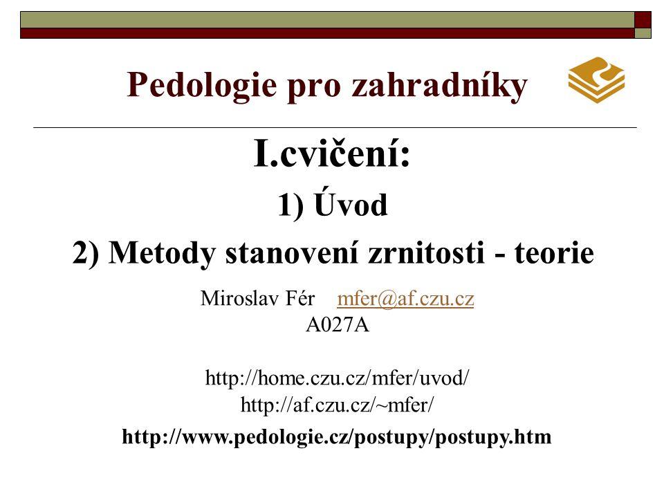 Pedologie pro zahradníky I.cvičení: 1) Úvod 2) Metody stanovení zrnitosti - teorie Miroslav Fér mfer@af.czu.czmfer@af.czu.cz A027A http://home.czu.cz/mfer/uvod/ http://af.czu.cz/~mfer/ http://www.pedologie.cz/postupy/postupy.htm